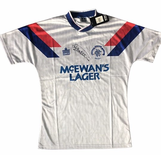 Mark Hateley signed Admiral Rangers away Football shirt 90-92