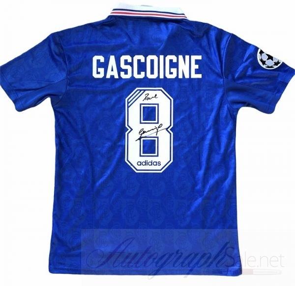 Paul Gascoigne signed shirt Rangers football club Champions League