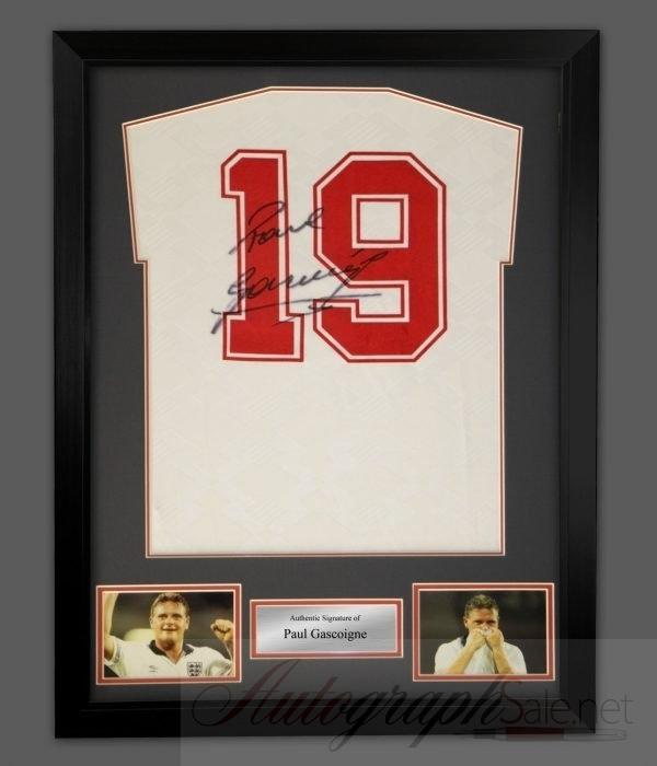 Paul Gascoigne Autograph England 1990 shirt signed