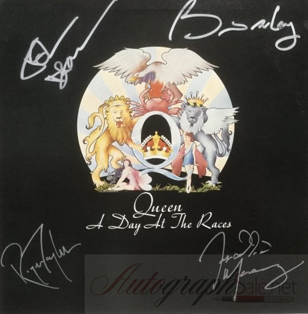 Queen Signed A Day at the Races album with Freddie Mercury