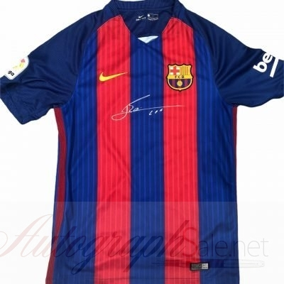Lionel Messi autograph Barcelona FC football shirt 16-17 season
