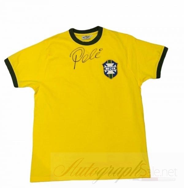 Pele Brazil signed football shirt Authentic autograph