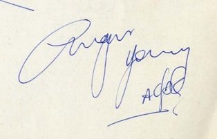 angus young autograph from 1976