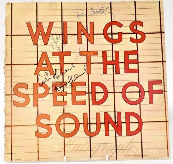 Paul McCartney autographed wings album Linda and Denny Laine