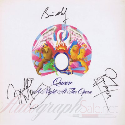 Queen Autographed A Night At The Opera lp Freddie Mercury